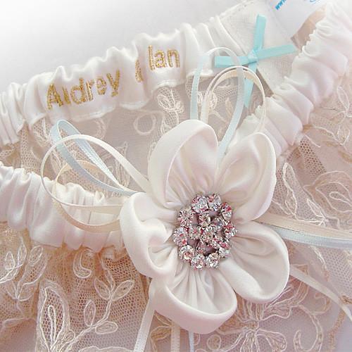 Ivory wedding garter Ayana Silk Garters