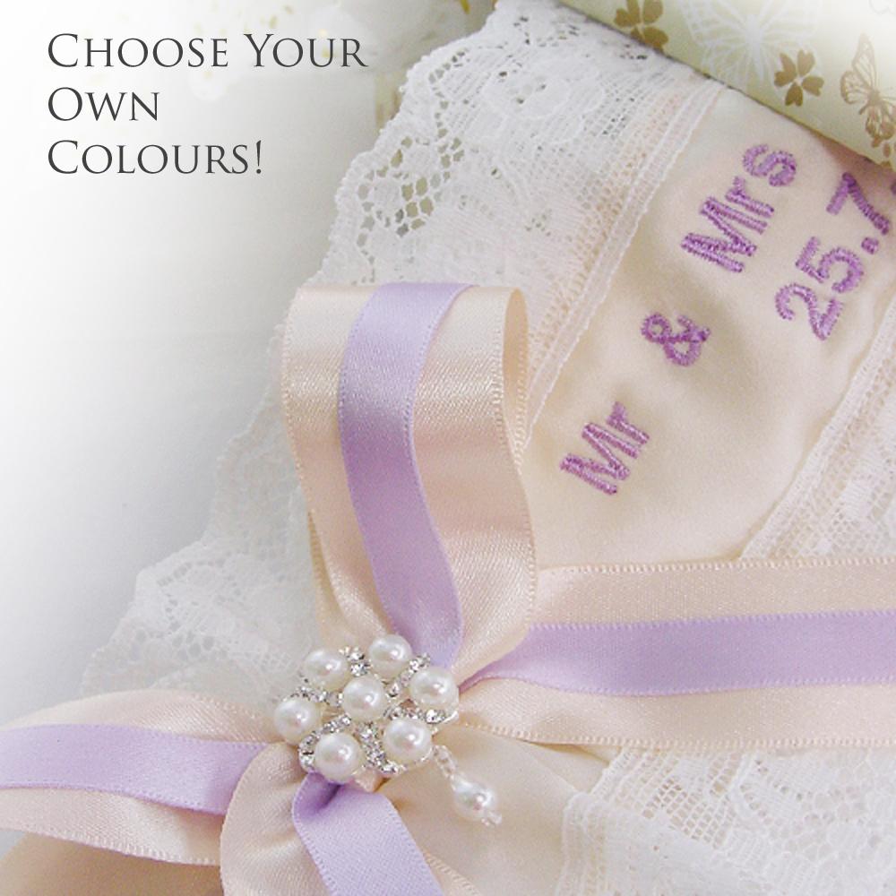 Custom colours bespoke wedding garter
