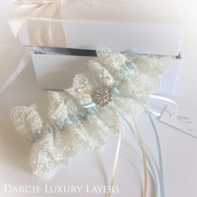 Luxury wedding garter Something blue Darcie