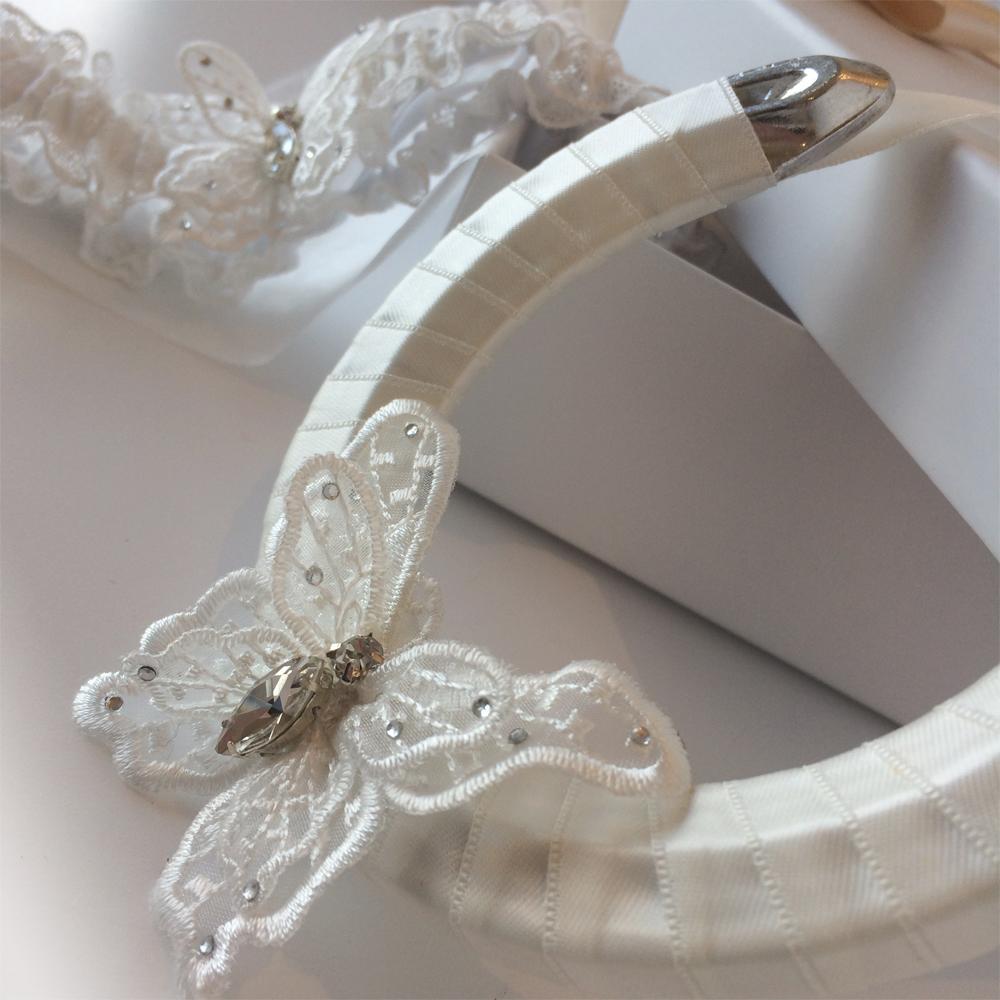 Boho wedding garter set Butterfly Kisses