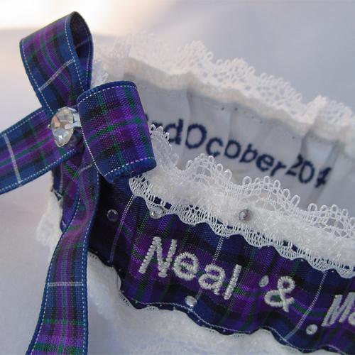 Personalised tartan pride of Scotland wedding garter