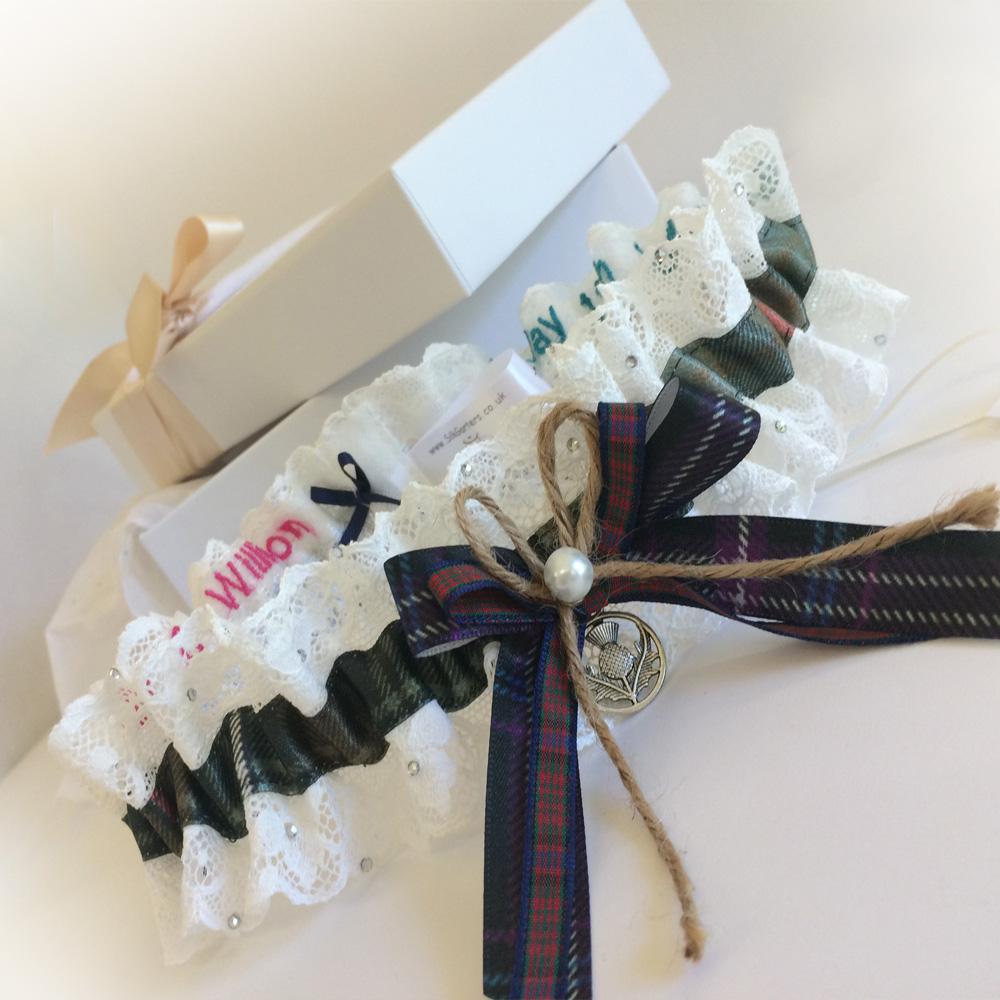 Bespoke wedding garter with 4 tartans
