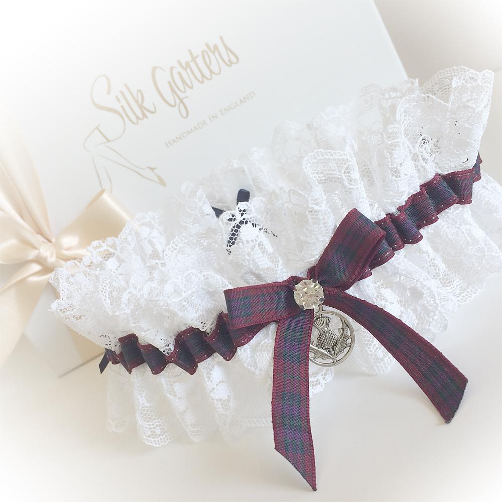 Autumn pride of Scotland wedding garter