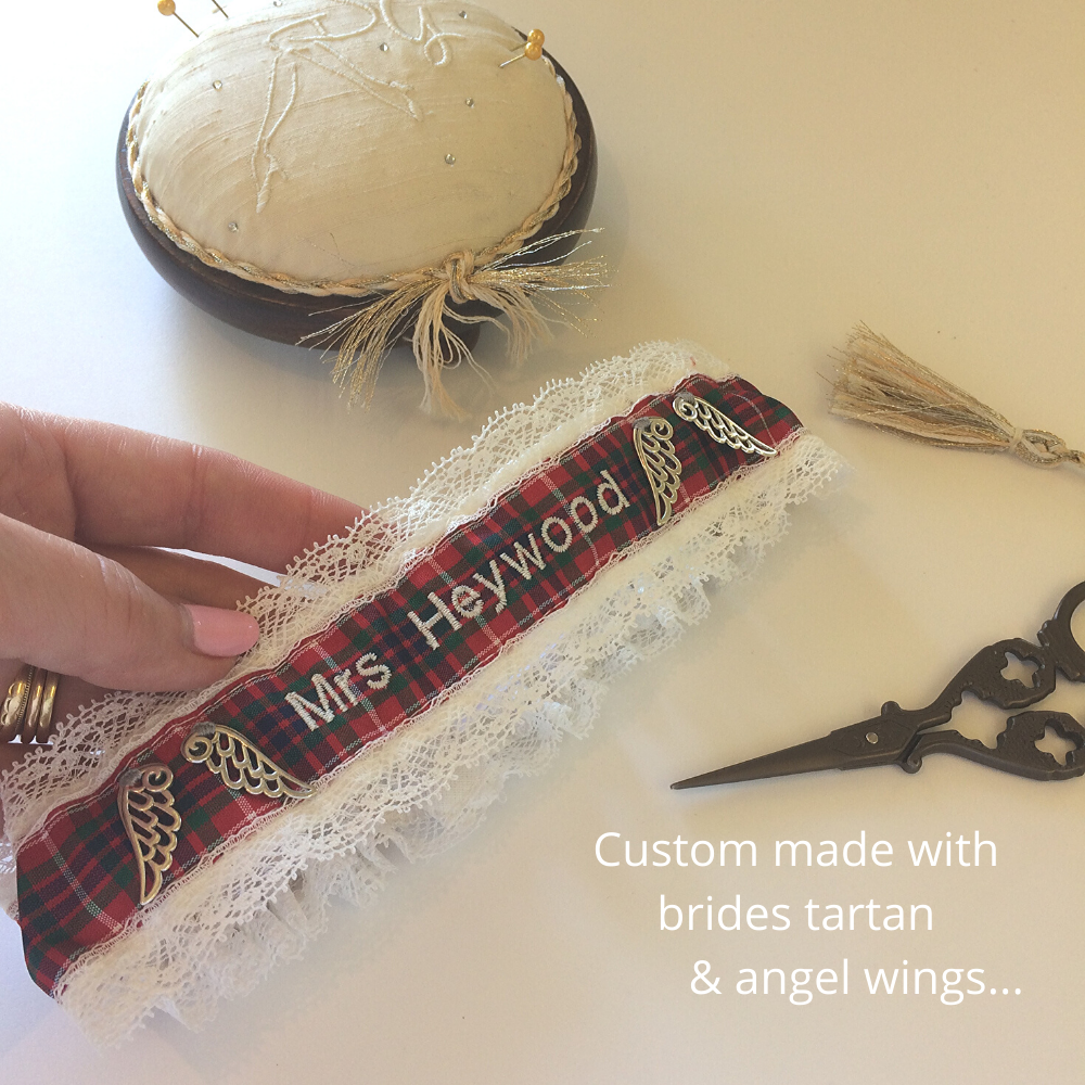 Custom made tartan garter with angel wings