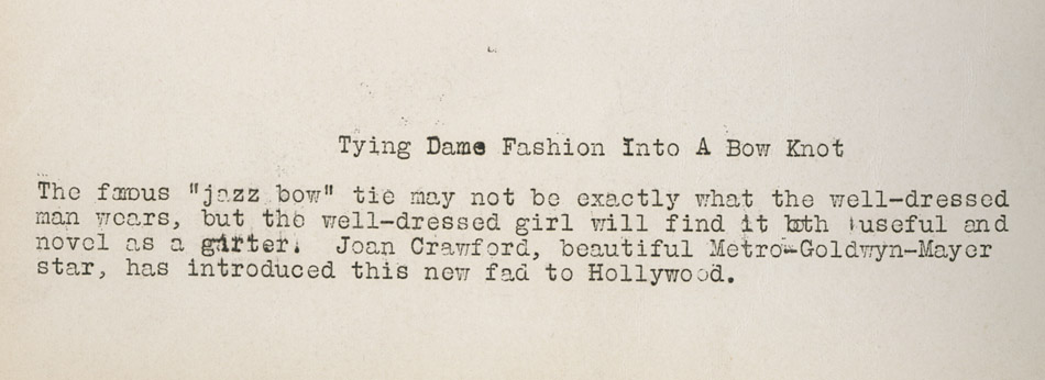 Promotion text about Joan Crawford's garter
