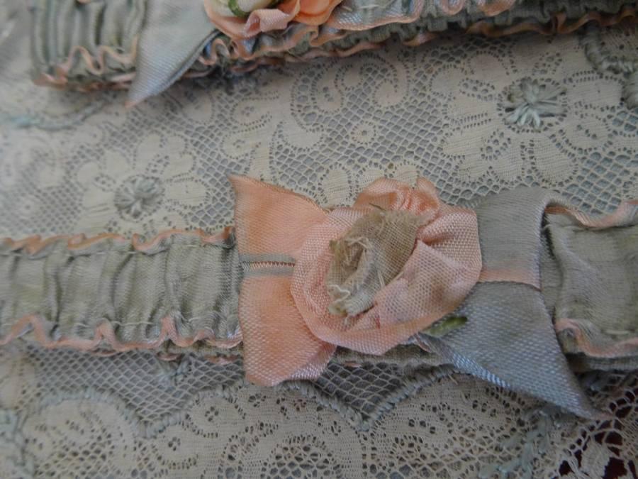 Edwardian garters with handmade silk flowers