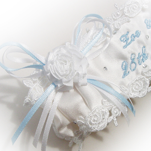 Traditional something blue wedding garter personalised with script text