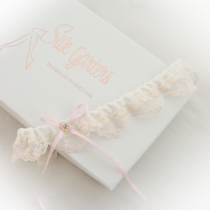 Flat front silk and lace wedding garter
