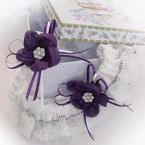Wedding garter set purple silk daisy Aubergene boxed
