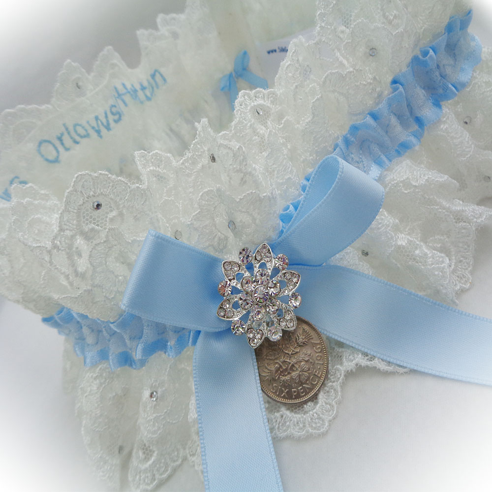 Double layer lace tulle garter for Lindsay