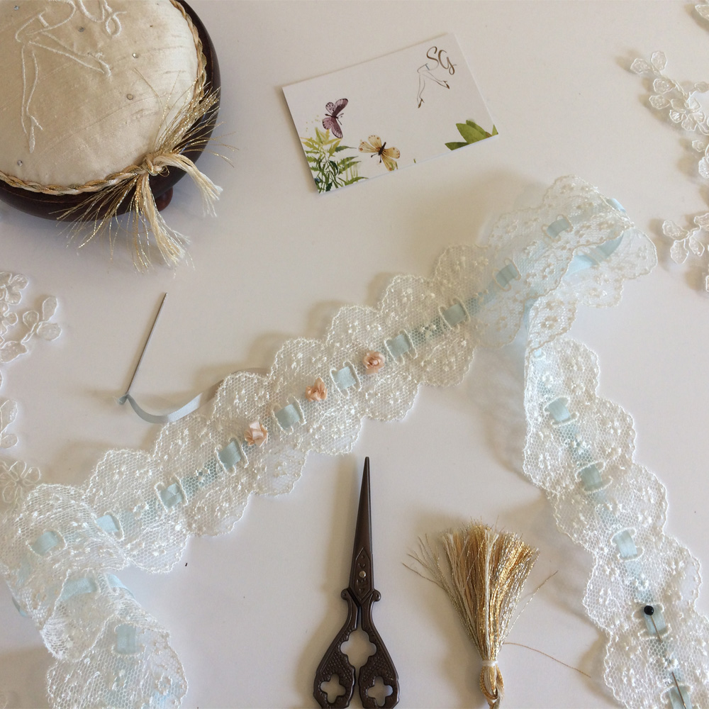 embroidering with silk ribbons