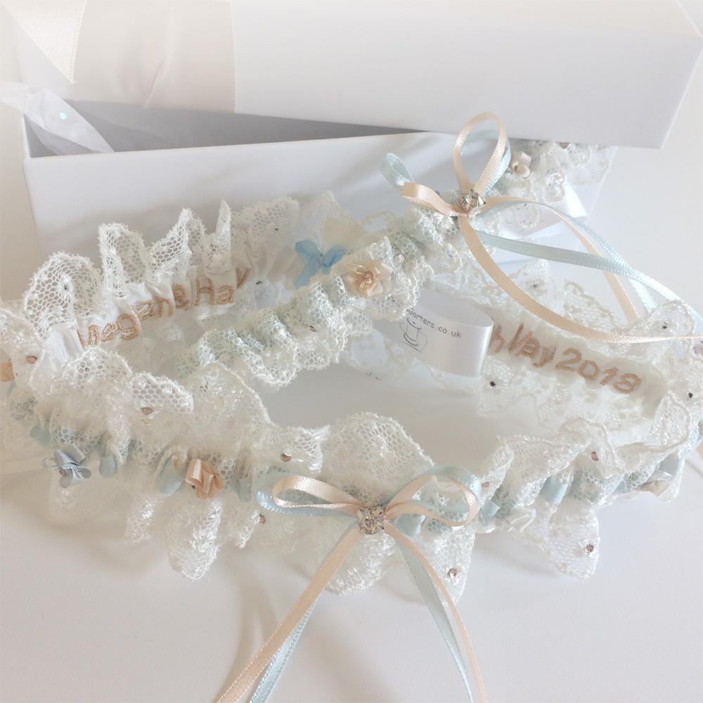 wedding garter set handmade in England Meghan