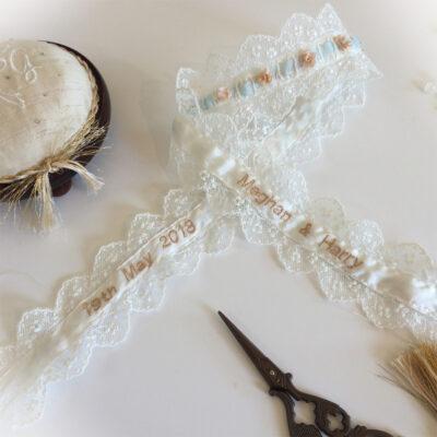 Harry and Meghan personalised wedding garter inside
