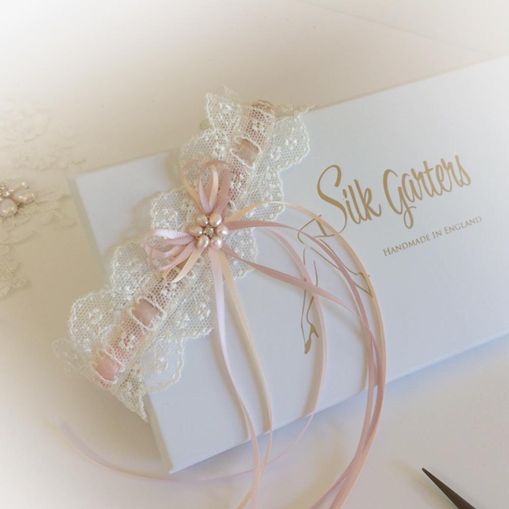Blush pink nude wedding garter nottingham lace
