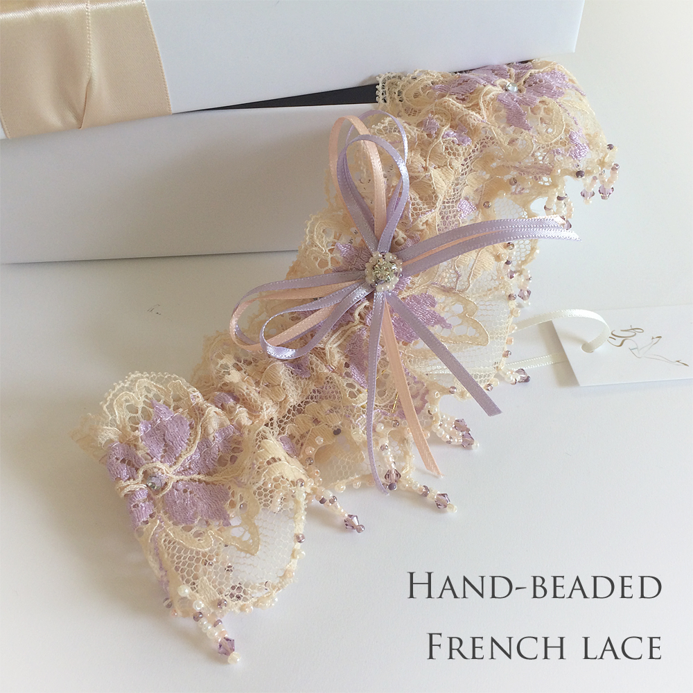 Hand Beaded French Lace Wedding Garter