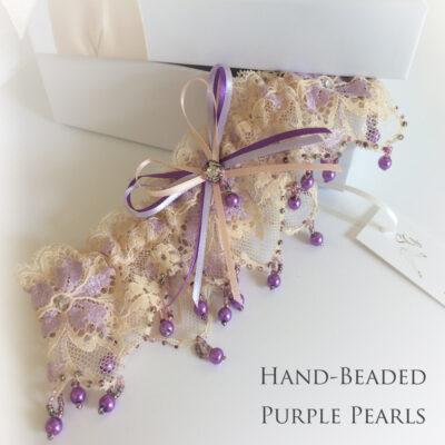 Purple Pearls wedding garter