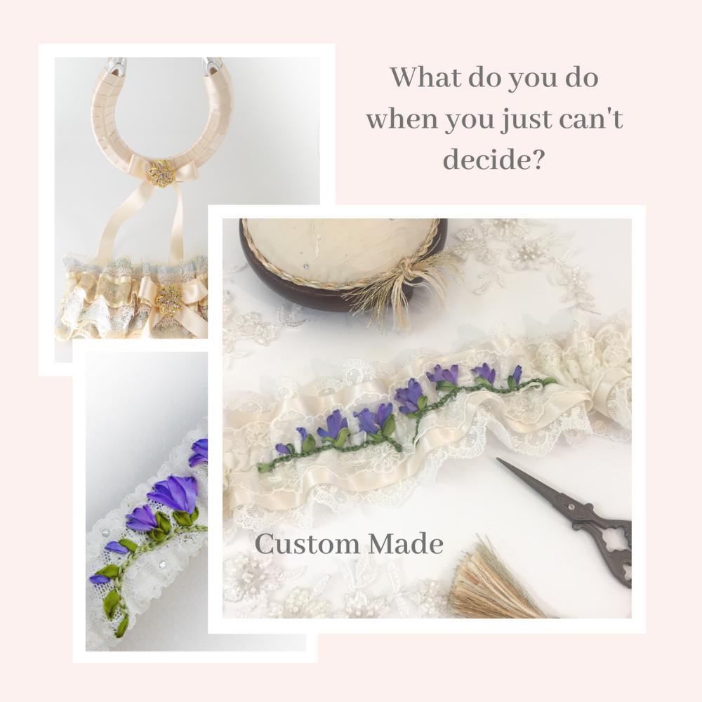 Bespoke hand embroidered wedding garter