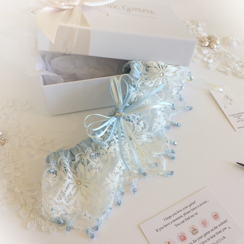 ivory and blue garter with crystals something blue