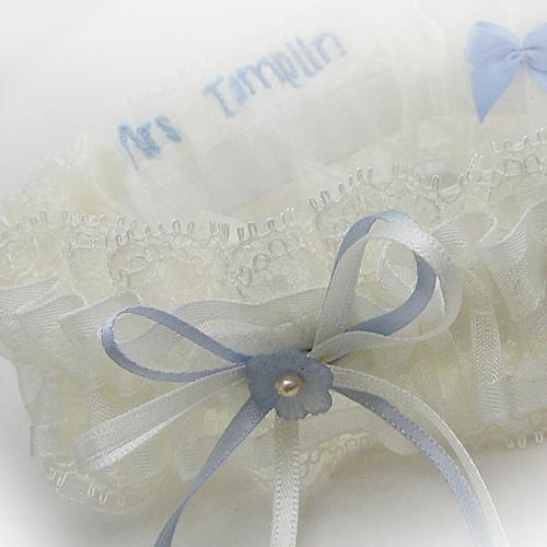 Vintage dusty blue flower garter personalised inside