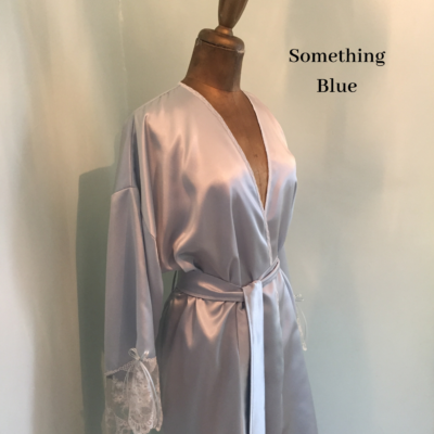 blue satin and lace robe
