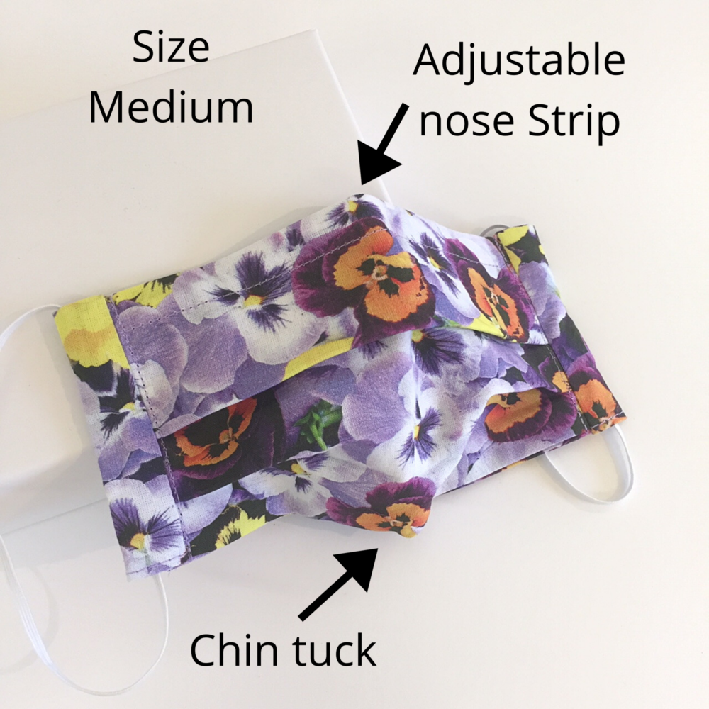 pansy flower face mask cotton