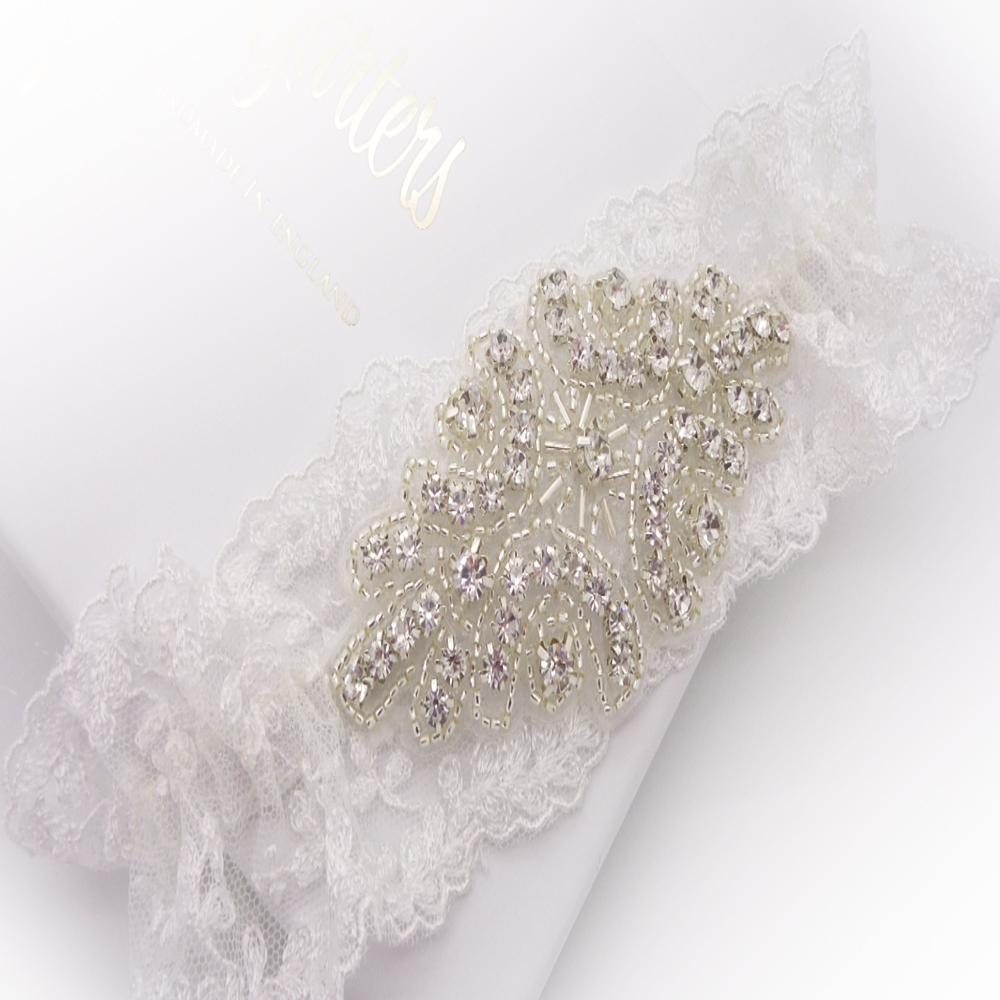 ella wedding garter with crystals