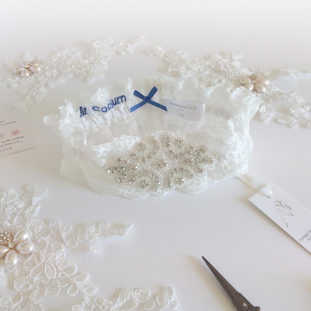 Ella Wedding garter personalised inside