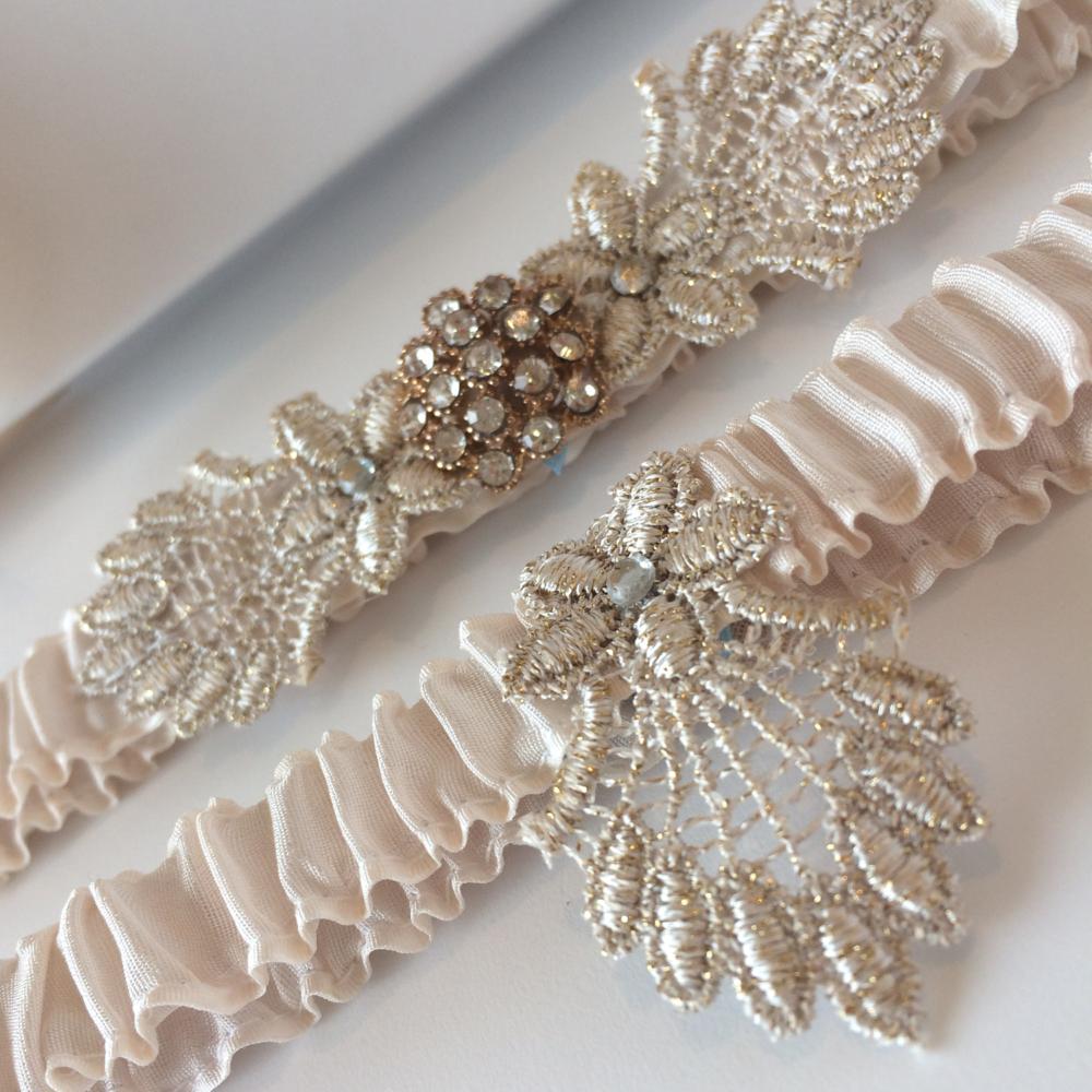 champagne gatsby wedding garter set