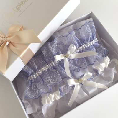 blue wedding garter set lavender