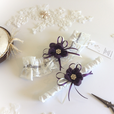 Silk Daisy bridal garter set