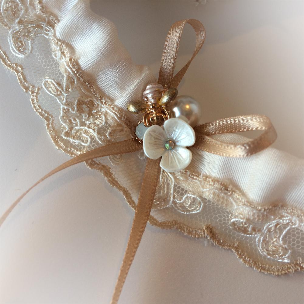 champagne wedding garter