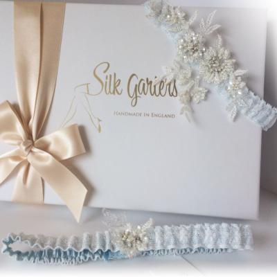 mia blue wedding garter set