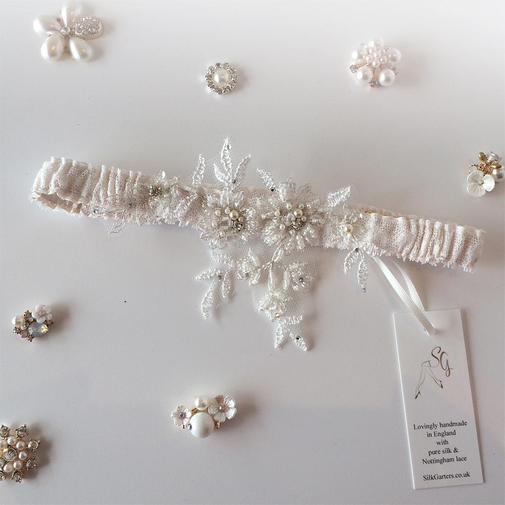 blush wedding garter