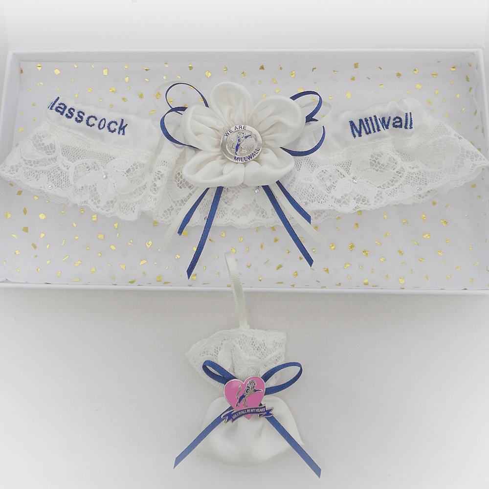 Luxury Millwall wedding garter and sixpence bag
