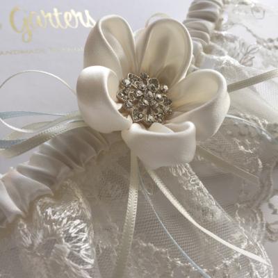 Ayana Ivory wedding garter crystal flower