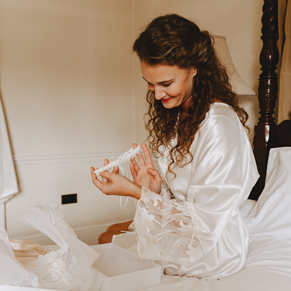 Brides robe champagne lace dressing gown