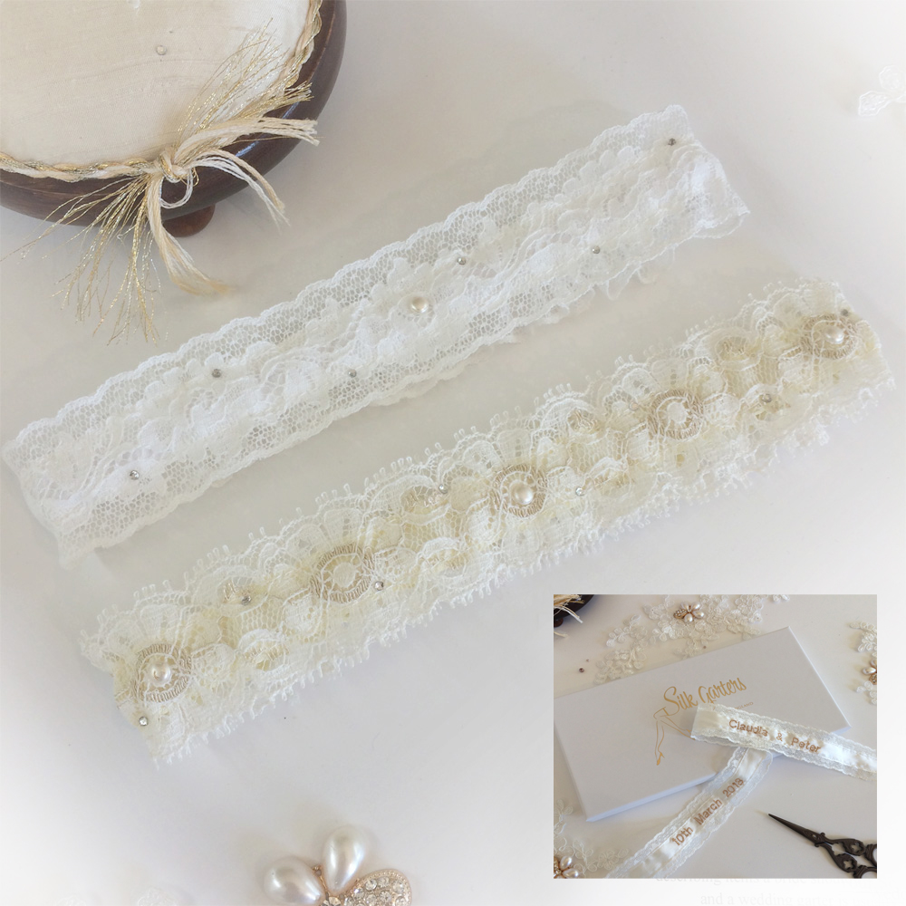 Olivia lace and pearl wedding garter