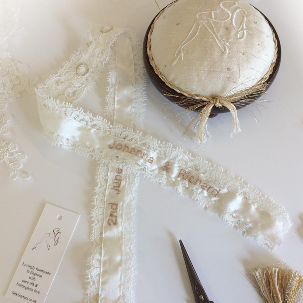 Personalised Olivia wedding garter