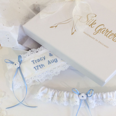 roses lace personalised wedding garter set