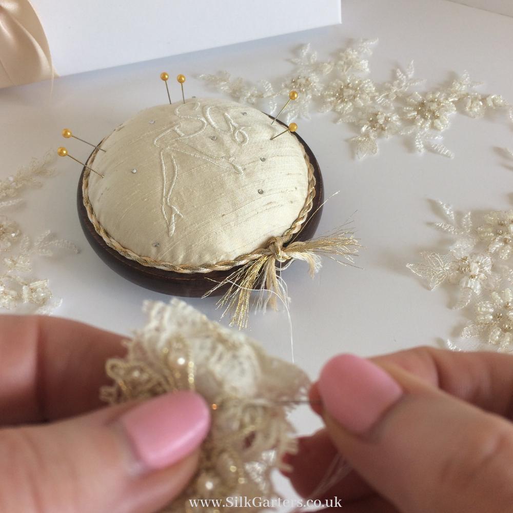 Sewing the Vintage Pearls wedding garter
