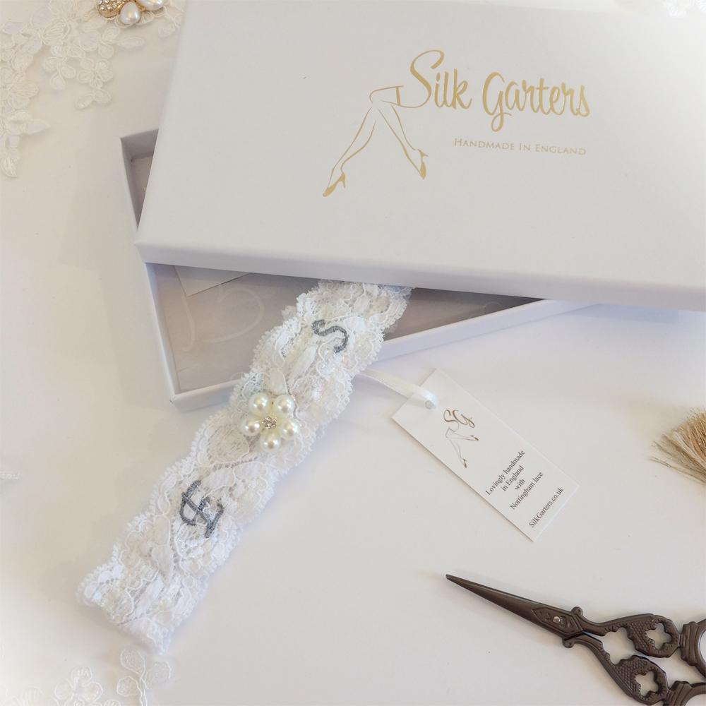 Initials wedding garter