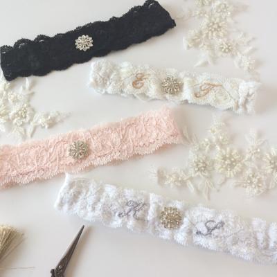Simple wedding garter with crystal