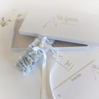 white pearl wedding garter