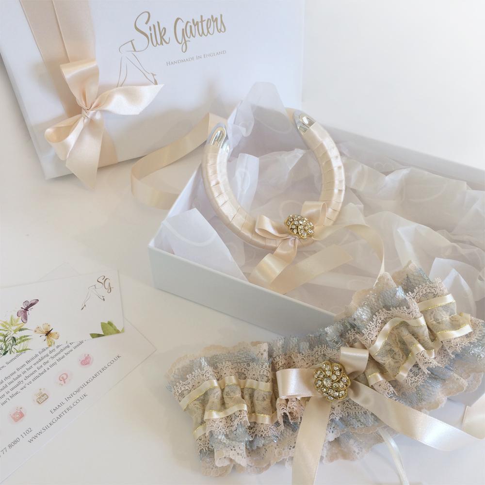 champagne wedding horseshoe and garter