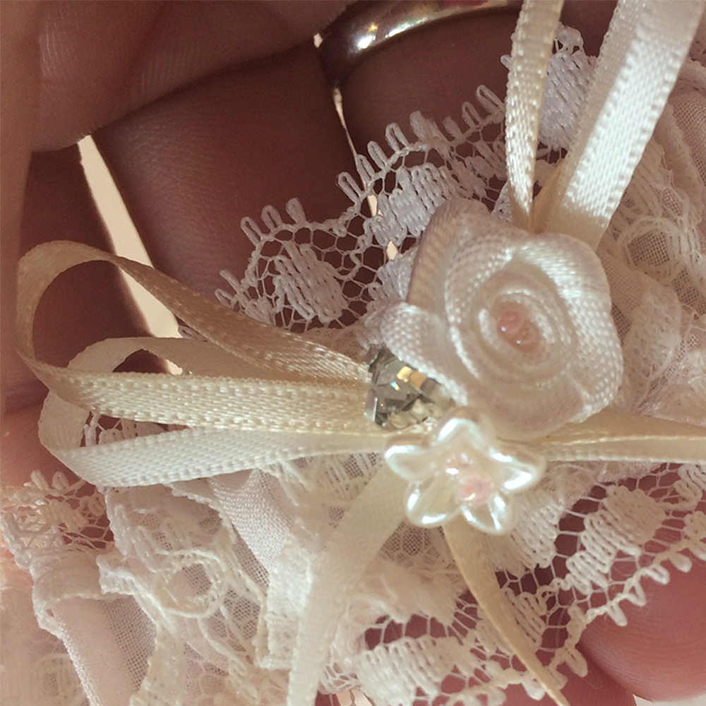 dainty details pink wedding garter