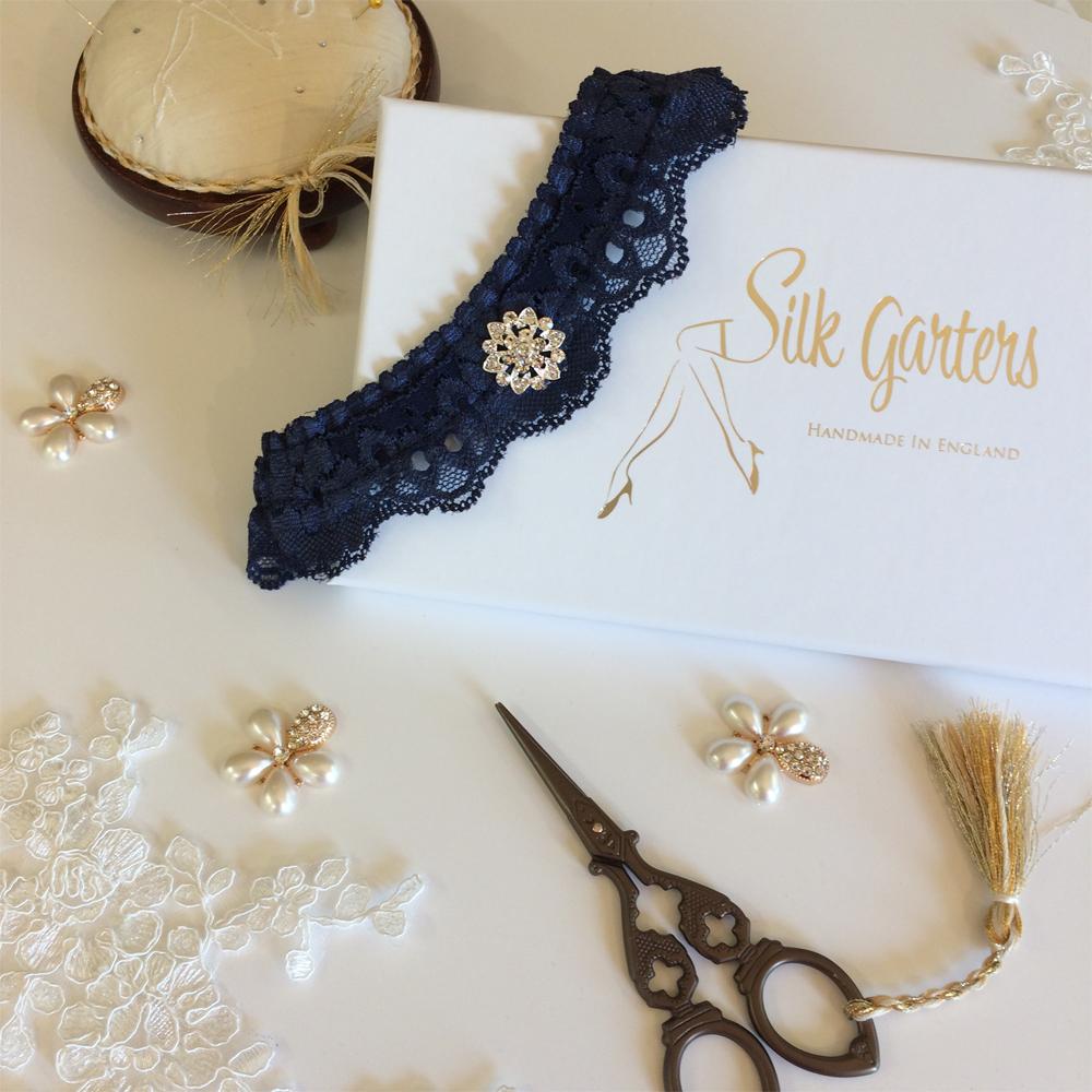 Dark blue wedding garter