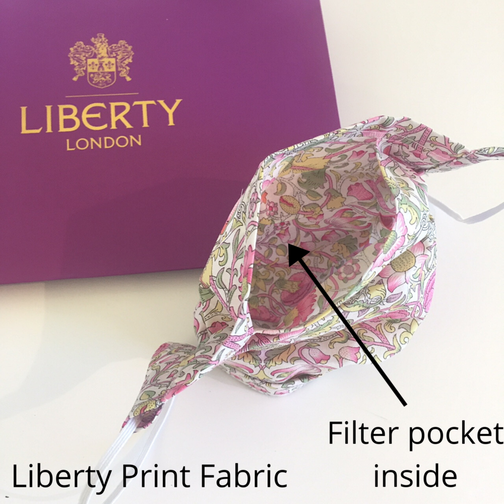 Lovely liberty print face mask pink green