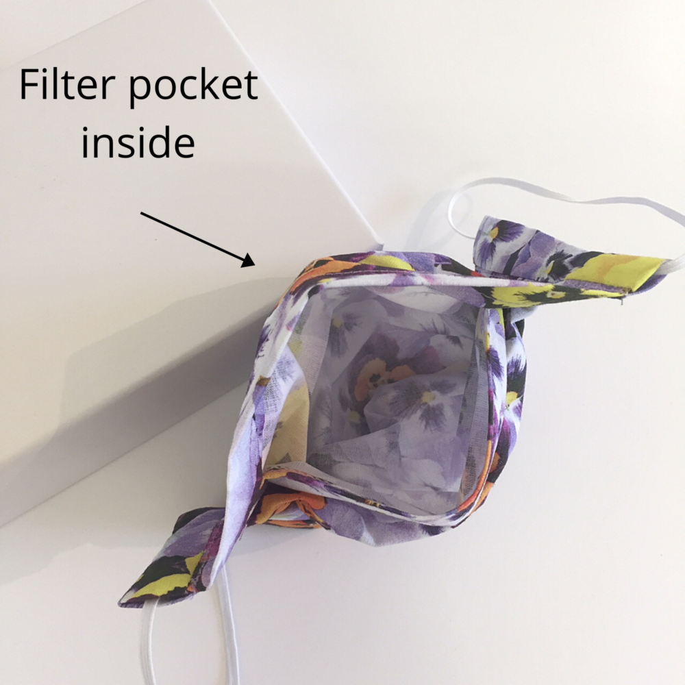 gardeners floral facemask with filter pocket
