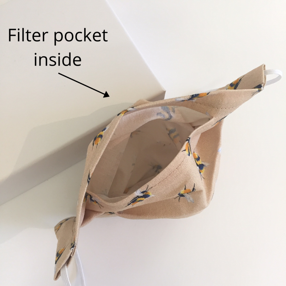 Bee mask with filter pocket
