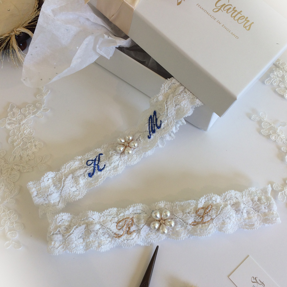 Lace wedding garter with embroidered initials